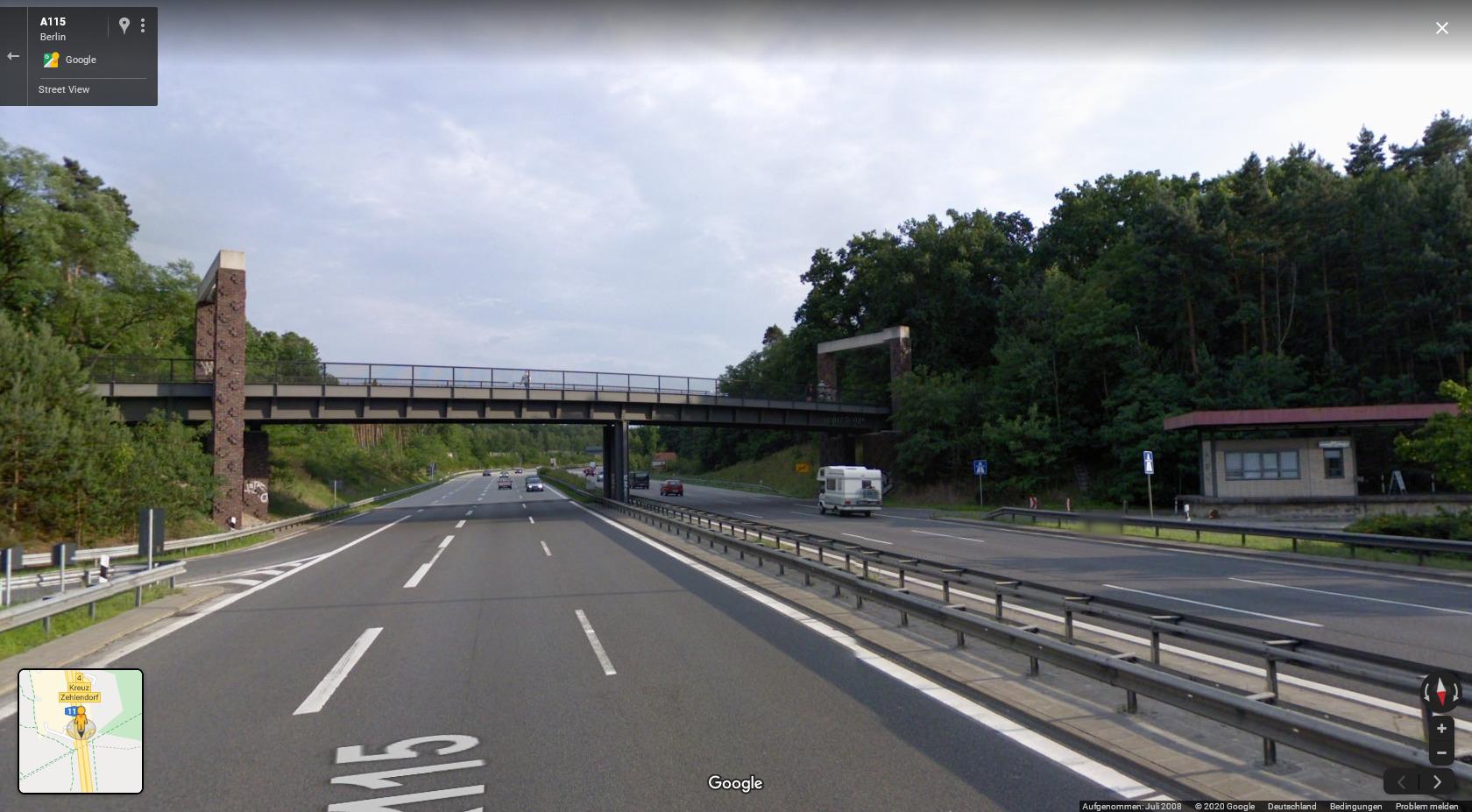 Google Maps: Grenzübergang Dreilinden bzw. Checkpoint Bravo