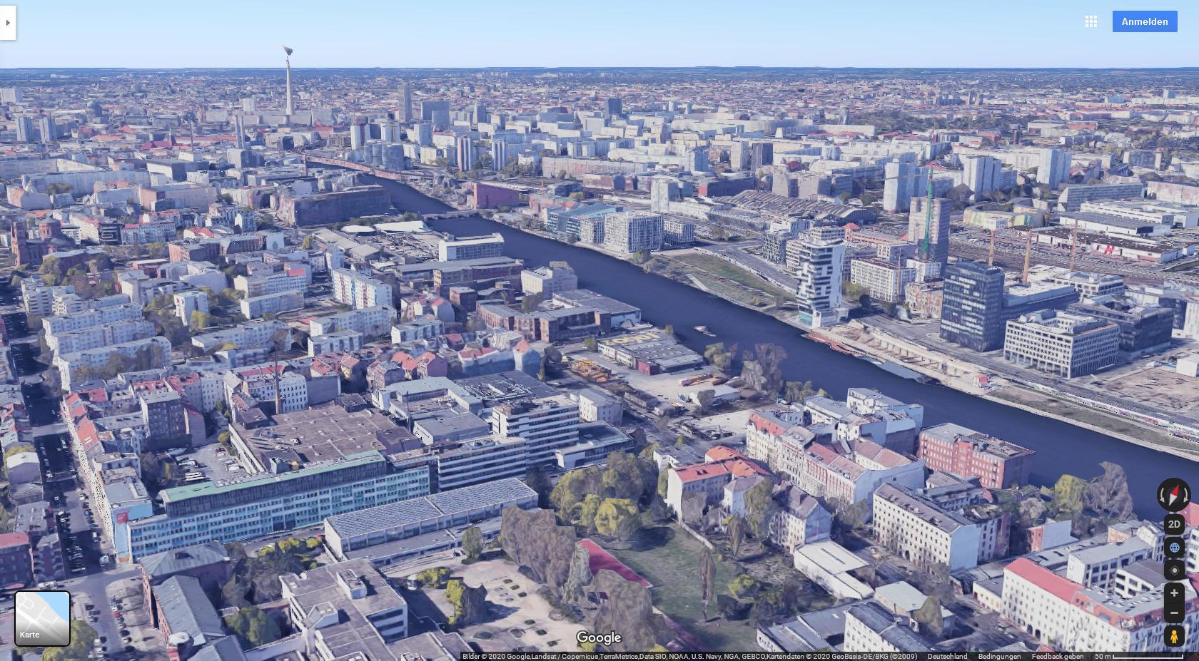 Google Maps: Luftbild der Spree zwischen Berlin-West und Berlin-Ost
