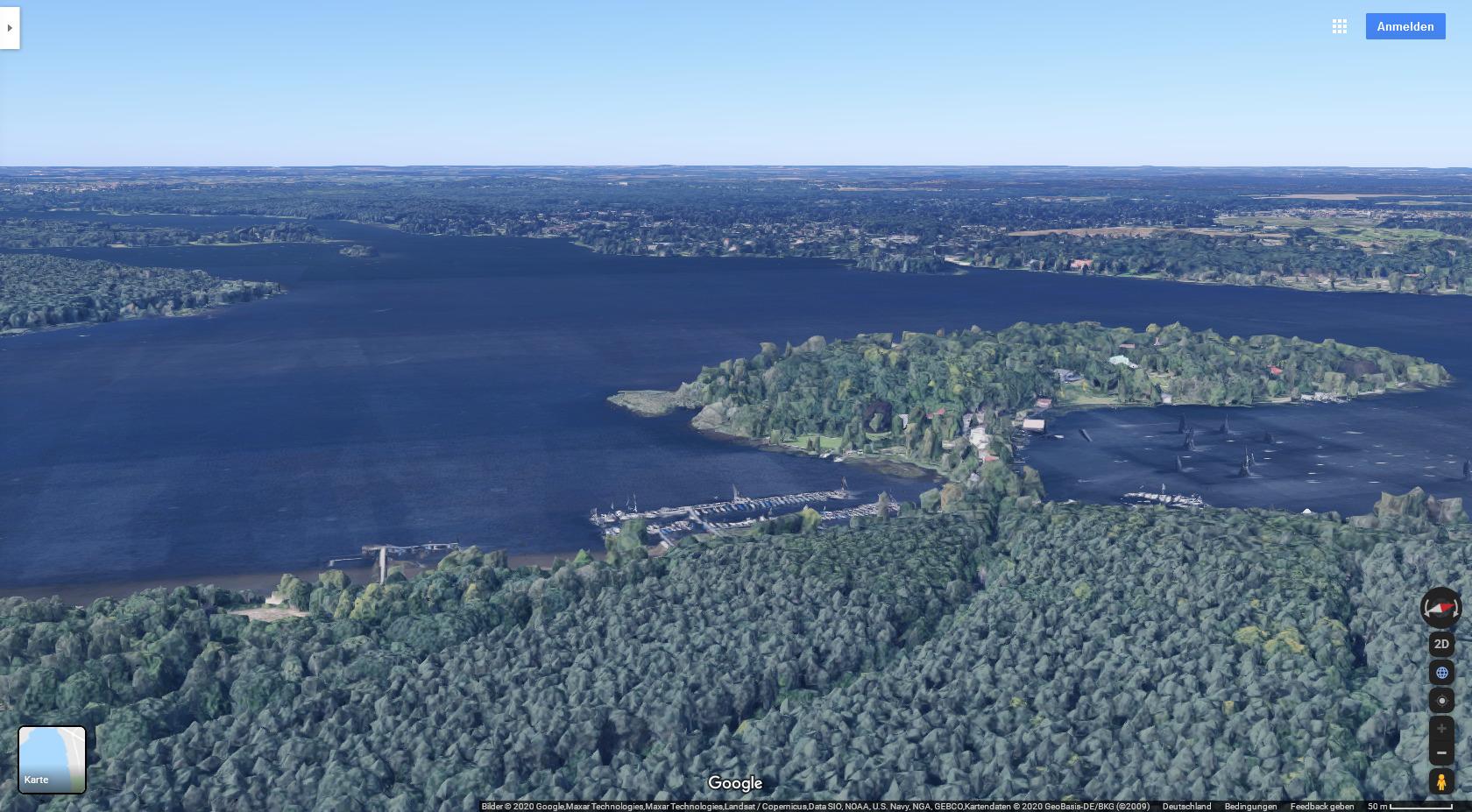 Google Maps: Insel Schwanenwerder am Großen Wannsee