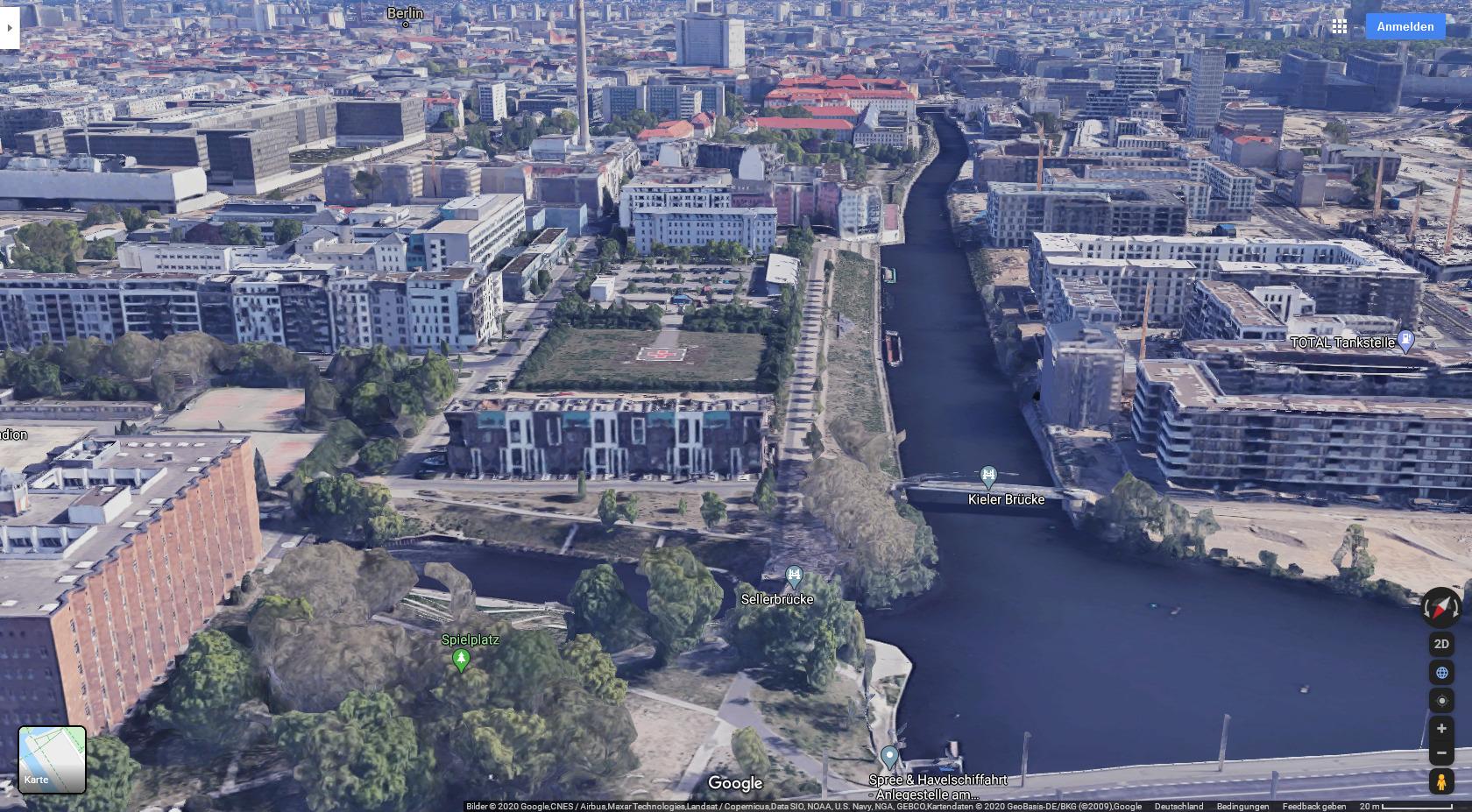 Google Maps: Verlauf des Berlin-Spandauer Kanals vom Nordhafen (vorne) bis zum Humboldthafen (hinten)