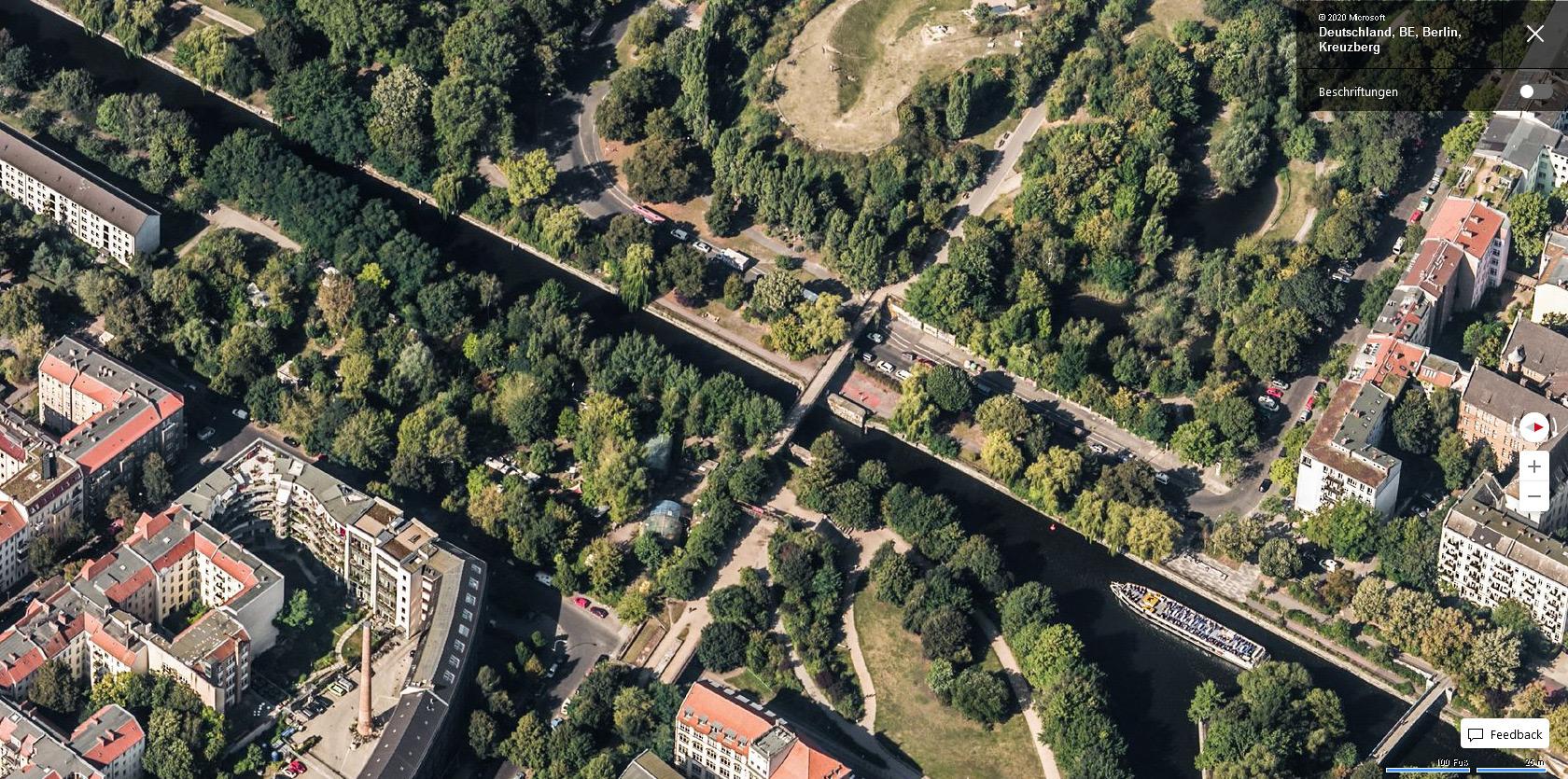 """Eisenbahnbrücke über den Landwehrkanal - Bing Maps Vogelperspektive """"Osten"""""""