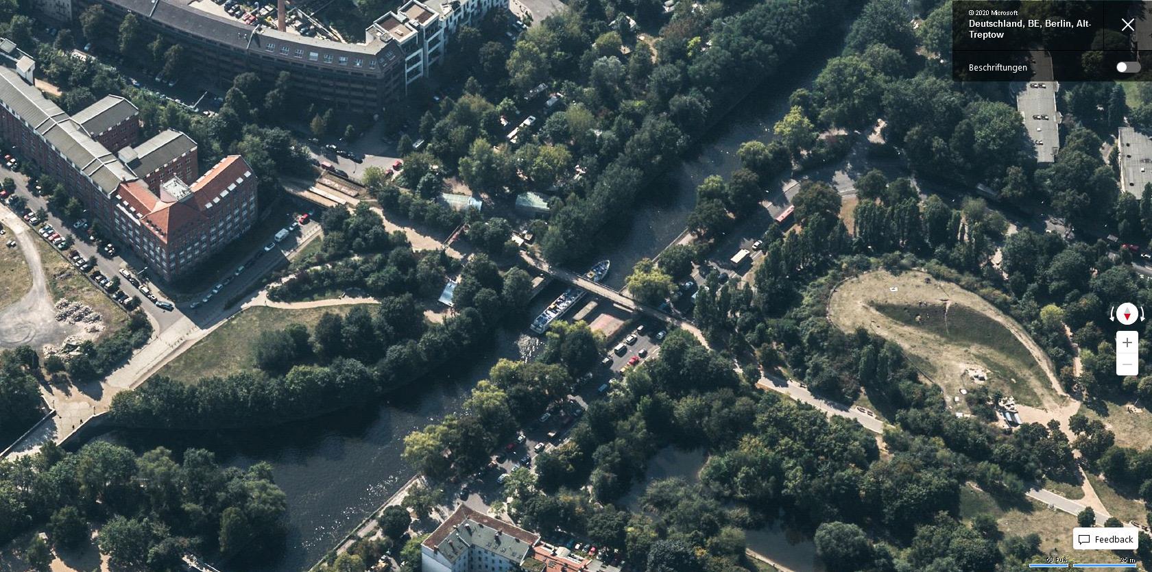 """Eisenbahnbrücke über den Landwehrkanal - Bing Maps Vogelperspektive """"Süden"""""""