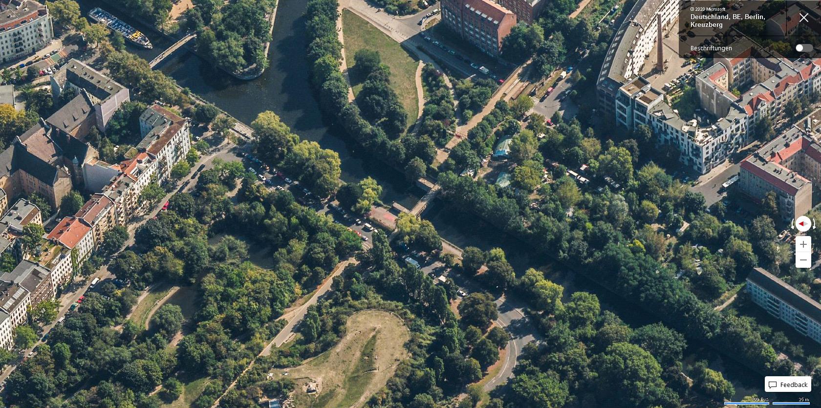 """Eisenbahnbrücke über den Landwehrkanal - Bing Maps Vogelperspektive """"Westen"""""""