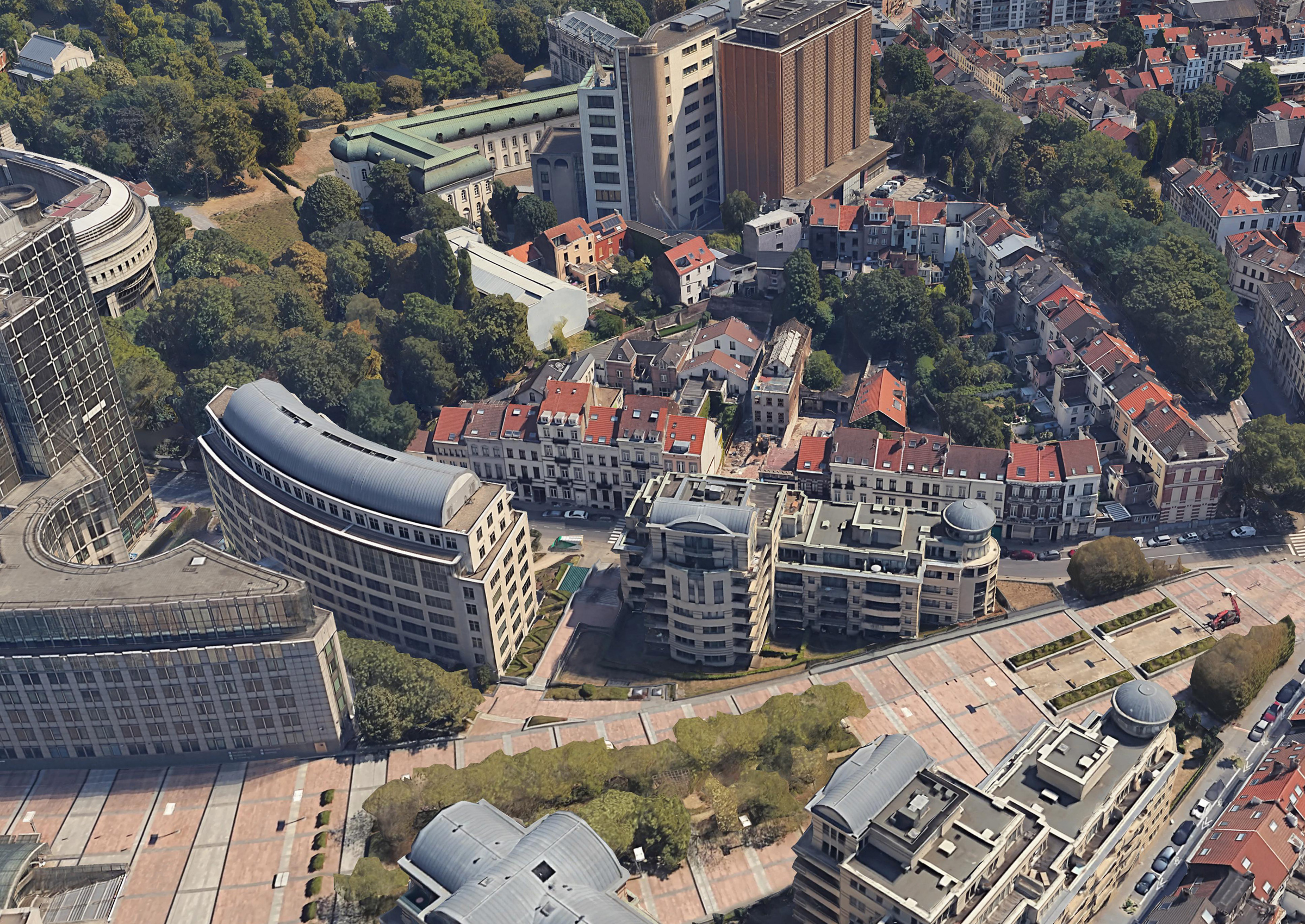 Google Earth: Luftbild der Rue Wiertz bzw. Wiertzstraat und der ehemaligen Gleisanlagen am Bahnhof in Brüssel