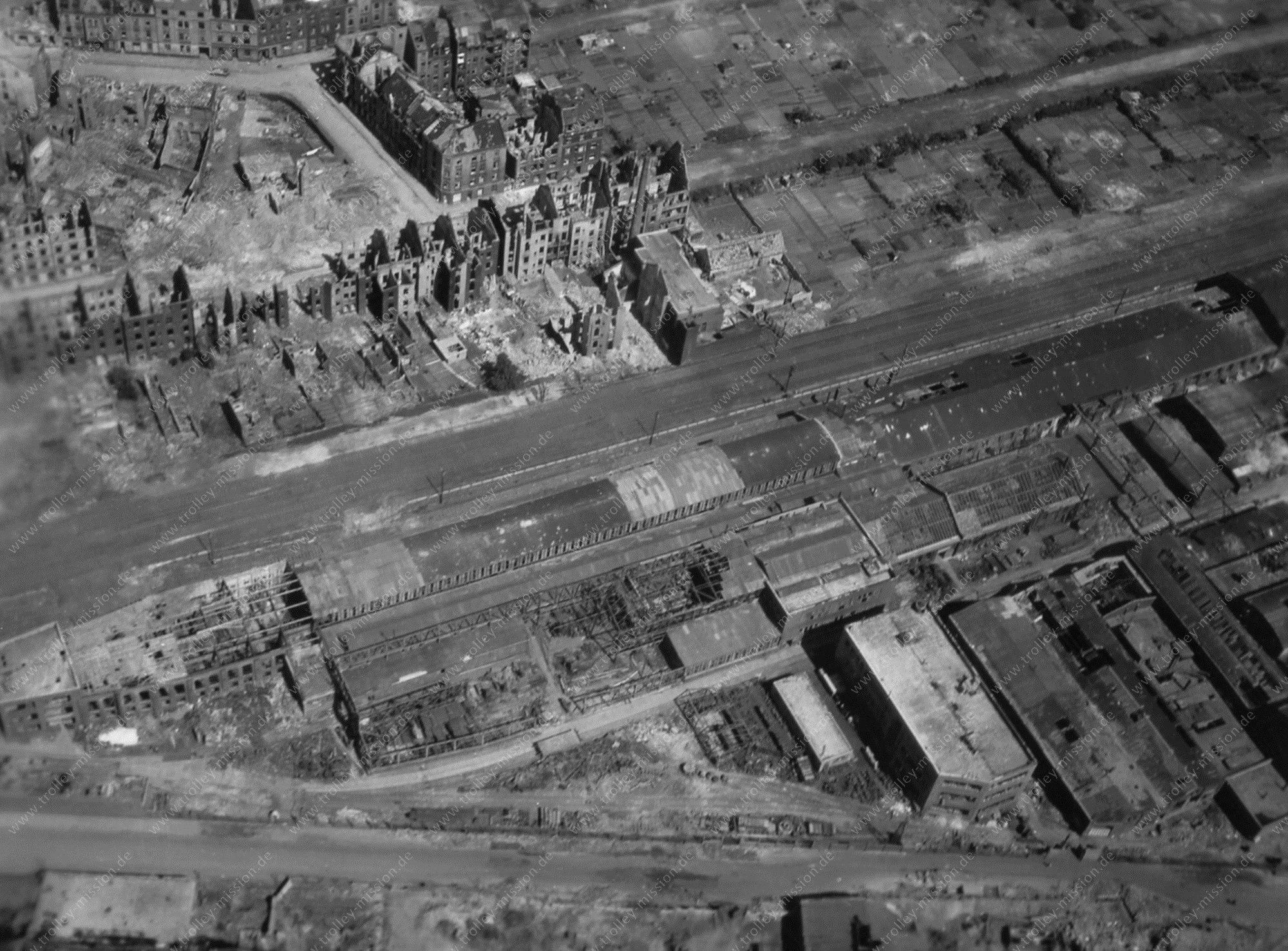 Dortmund Weißenburger Straße sowie Osterlandwehr - Luftbild aus dem Mai 1945