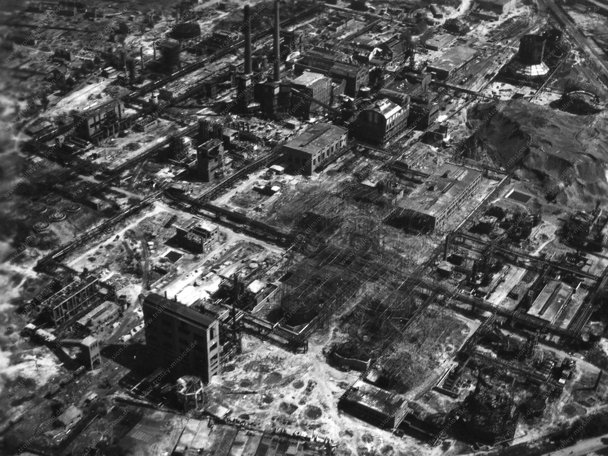 Luftbild Bottrop Zeche Vereinigte Welheim bzw. Hydrierwerk Ruhröl GmbH im Mai 1945