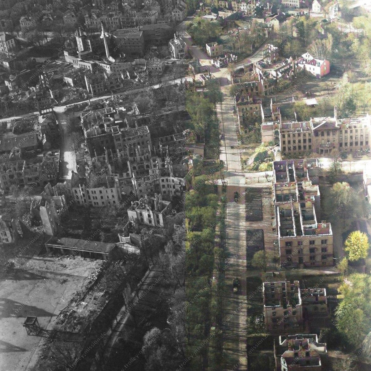 """Die Luftbilder der """"Trolley Mission"""" in Farbe: Luftaufnahmen von Gießen aus dem Zweiten Weltkrieg"""