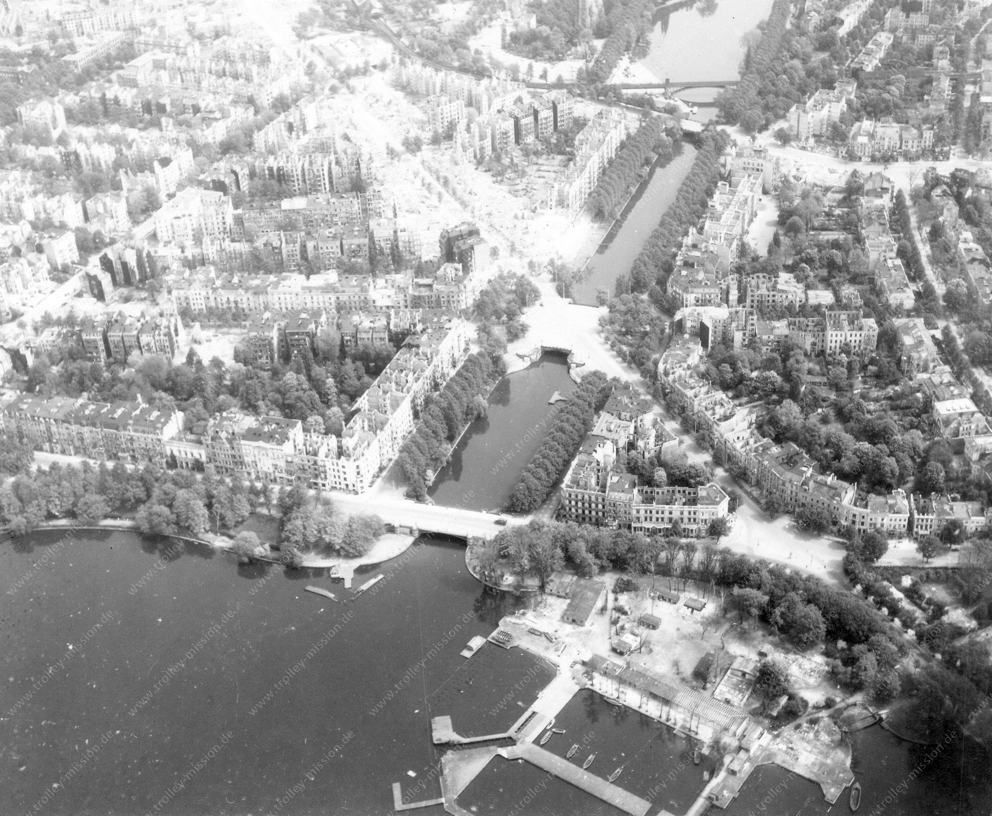 Hamburg Luftbild Schwanenwikbucht, Mundsburg-Kanal und Mundsburger Brücke