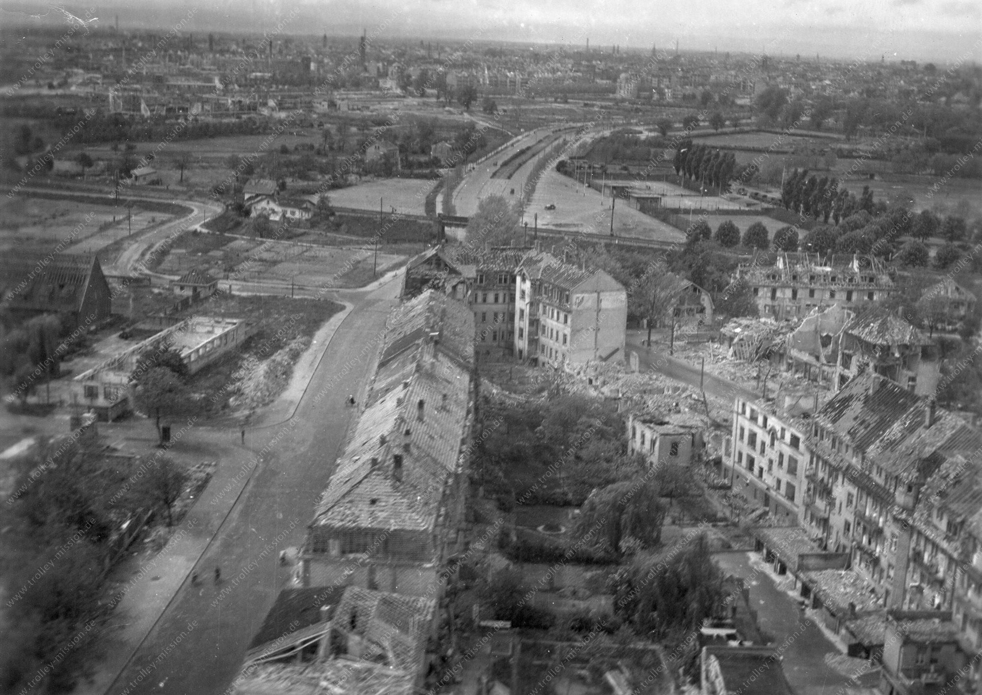 Mannheim Luftbild der Seckenheimer Landstraße im Zweiten Weltkrieg