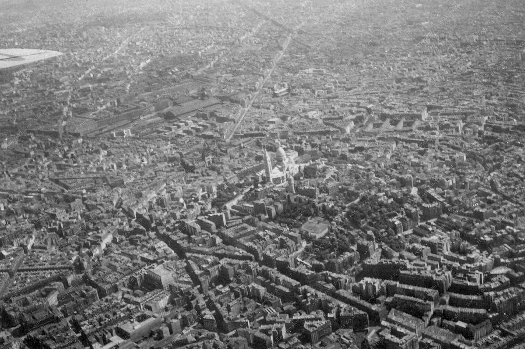 Paris Luftbild aus dem Weltkrieg von der Basilika Sacré-Cœur auf dem Montmartre (Frankreich)