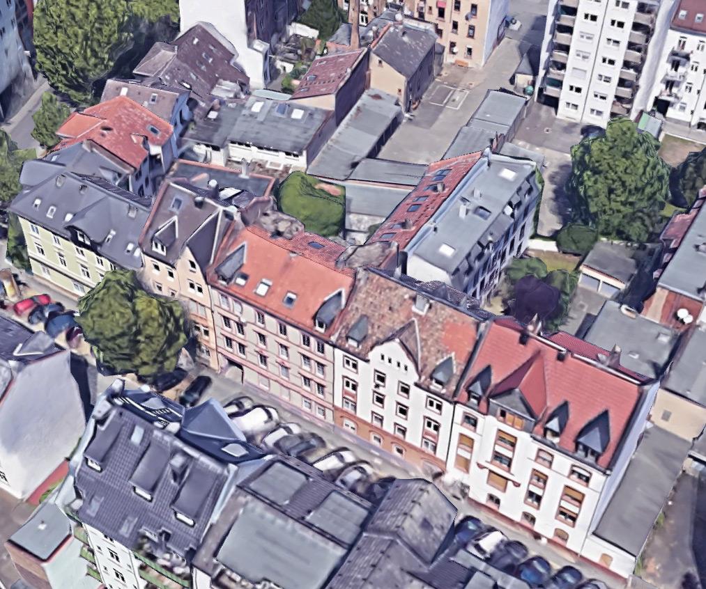 Vergleichsbild von Offenbach am Main, Querstraße, aus Google Earth