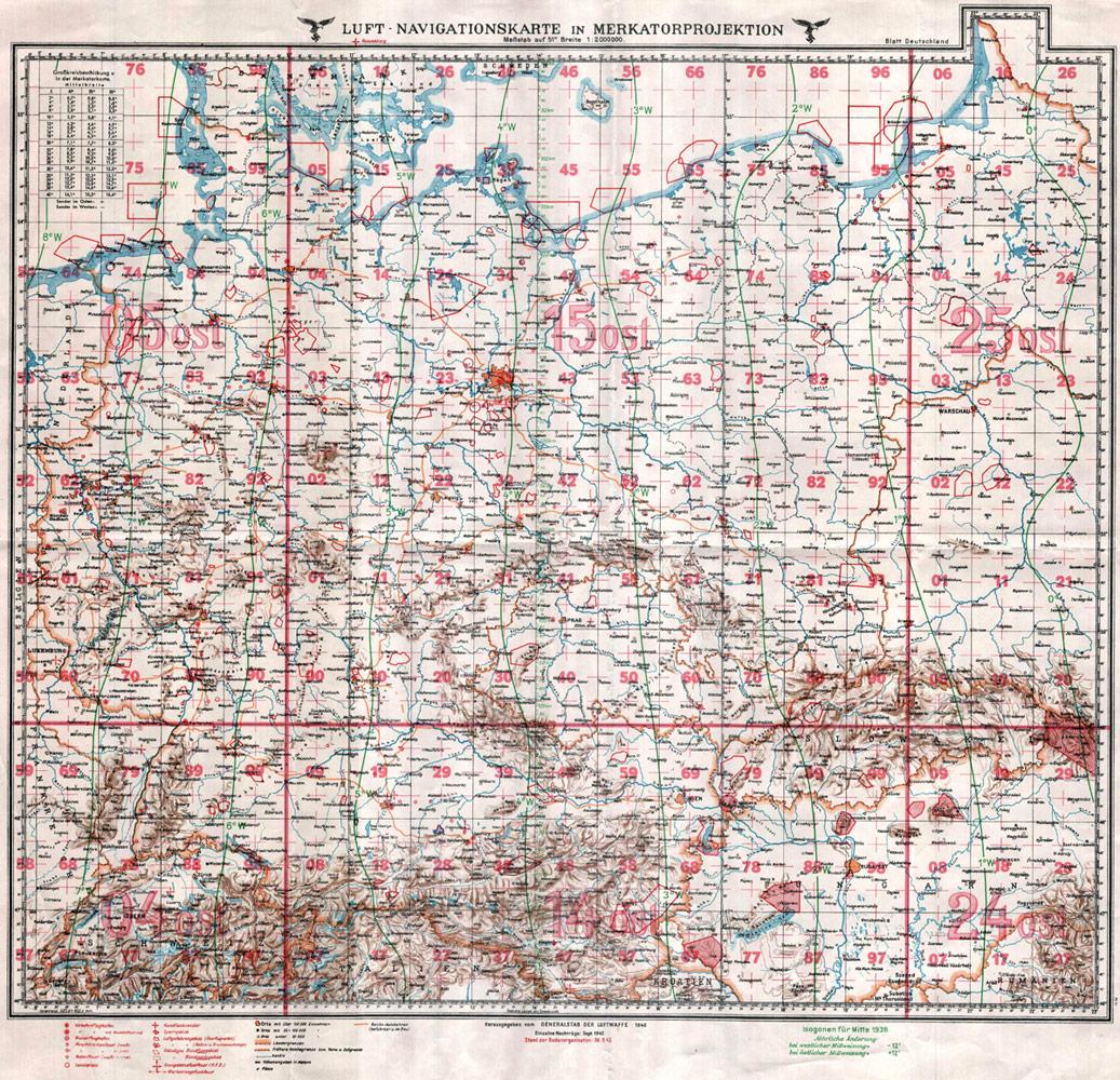 Luft-Navigationskarte 1940 von Deutschland in Merkatorprojektion vom Generalstab der Luftwaffe