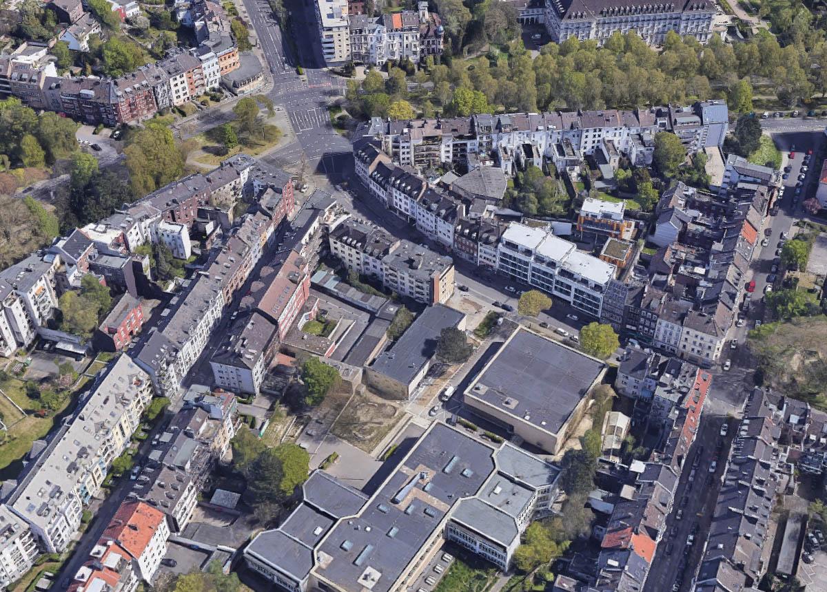 Aachen 1945 und 2020: Luftbild von Achterstraße und Sandkaulstraße sowie Monheimsallee
