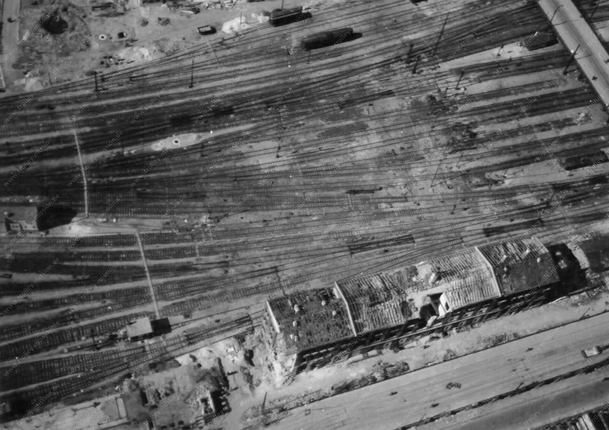 Luftbild der Jägerstraße kurz vor dem alten Kopfbahnhof bzw. Hauptbahnhof in Ludwigshafen am Rhein