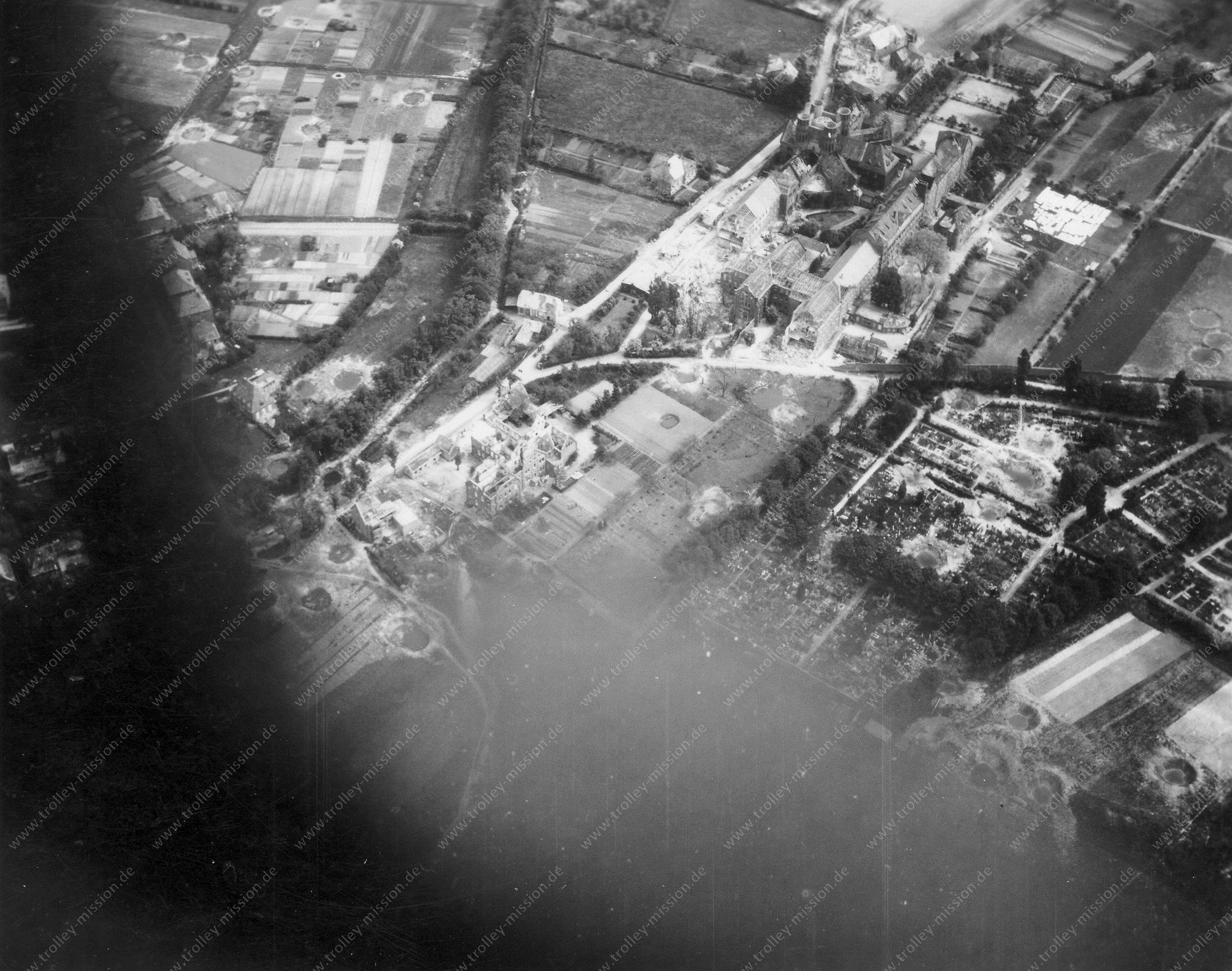 Luftbild Kloster vom Guten Hirten in Münster nach den Fliegerbomben im Mai 1945