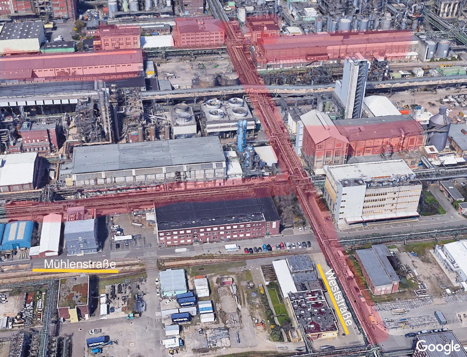 Luftbild des Werkes der BASF bzw. Interessengemeinschaft Farbenindustrie AG (I.G. Farben bzw IG Farben) in Ludwigshafen-Oppau