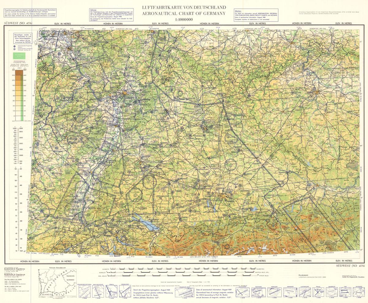 Luftfahrtkarte der Bundesrepublik Deutschland, Erste Ausgabe 1959, Südwest