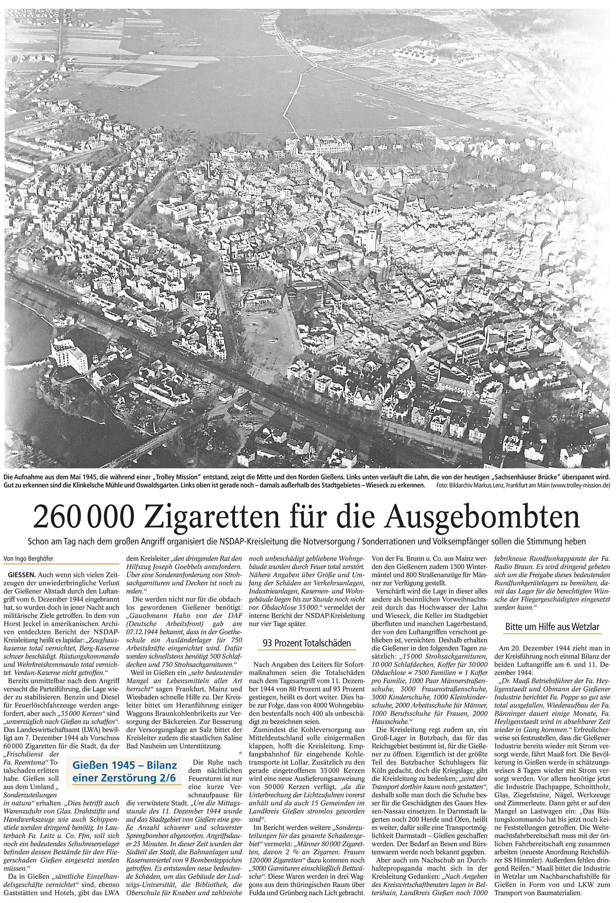 Gießener Anzeiger: 260.000 Zigaretten für die Ausgebombten