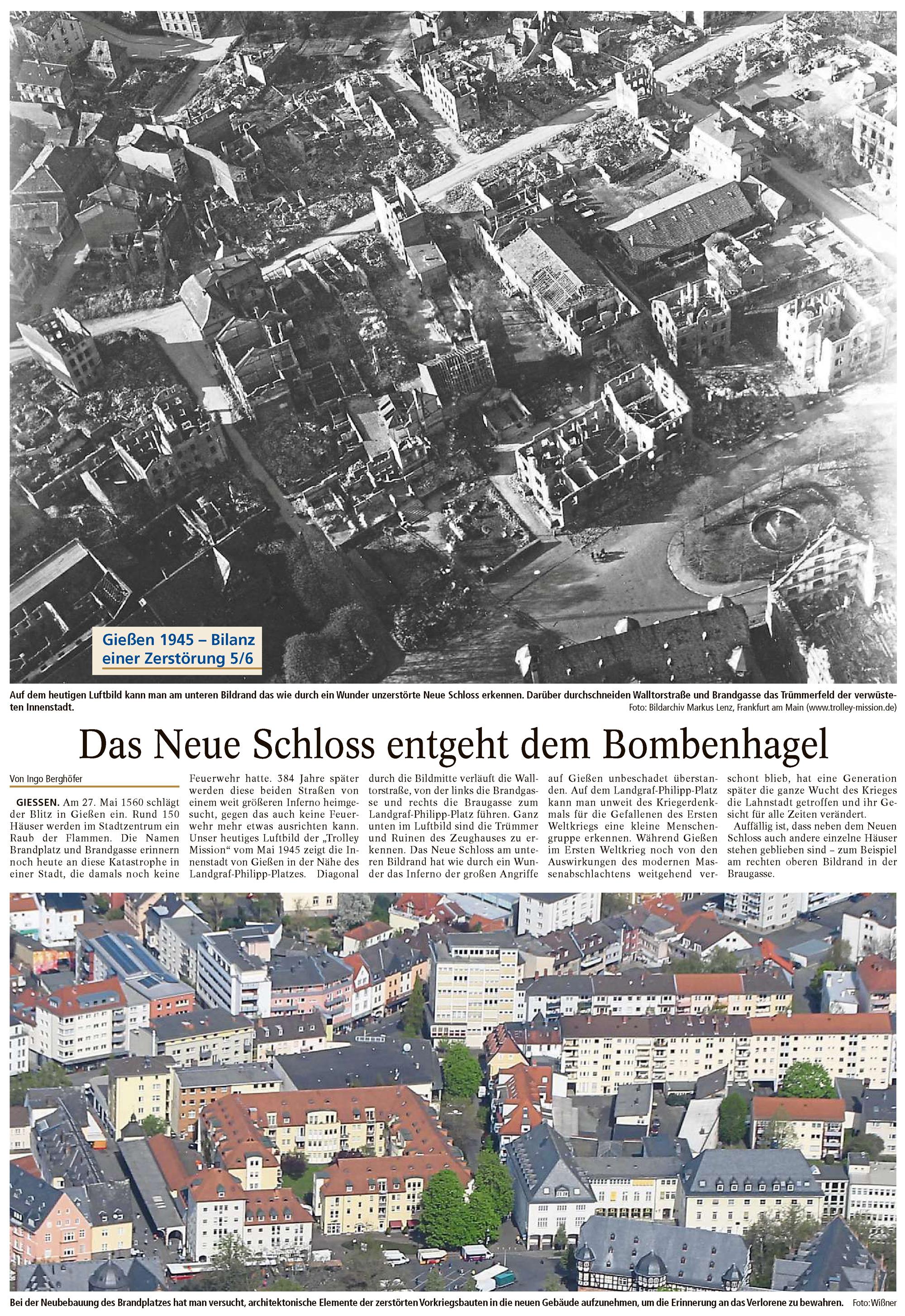 Gießener Anzeiger: Das neue Schloss entgeht dem Bombenhagel