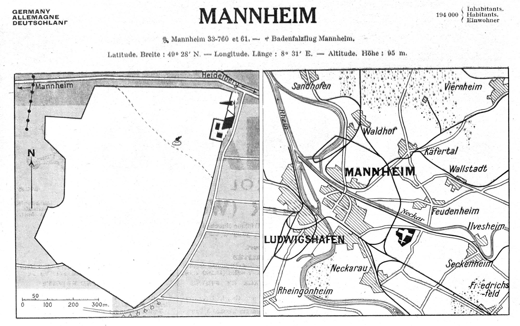 Historische Karte Flughafen Mannheim