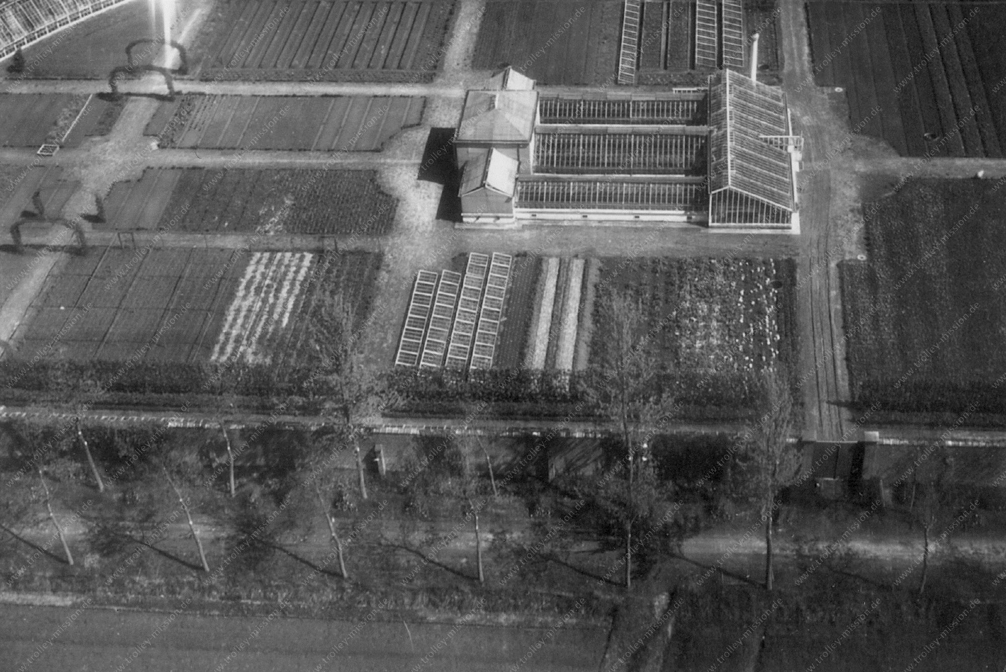 Unbekanntes Luftbild Gewächshaus und Garten