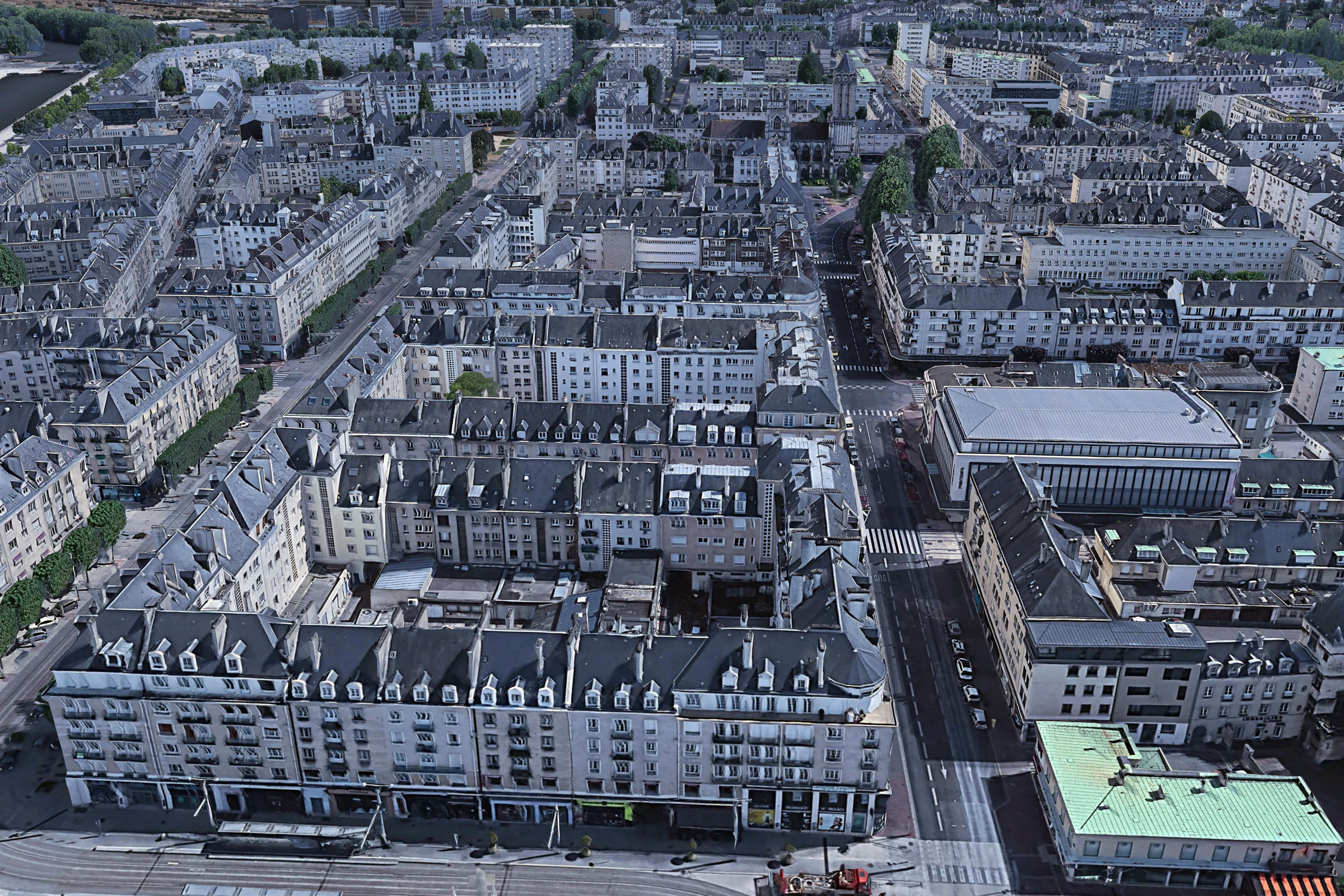 Caen Église Saint-Jean - Bildvergleich zwischen 1945 und 2021