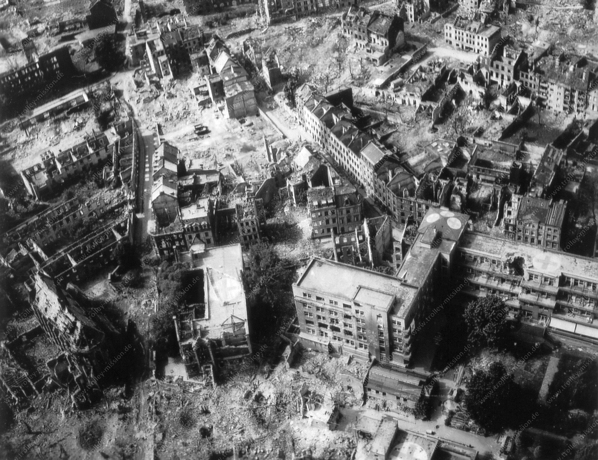Krankenhaus der Augustinerinnen in Köln - Luftbild aus dem Zweiten Weltkrieg