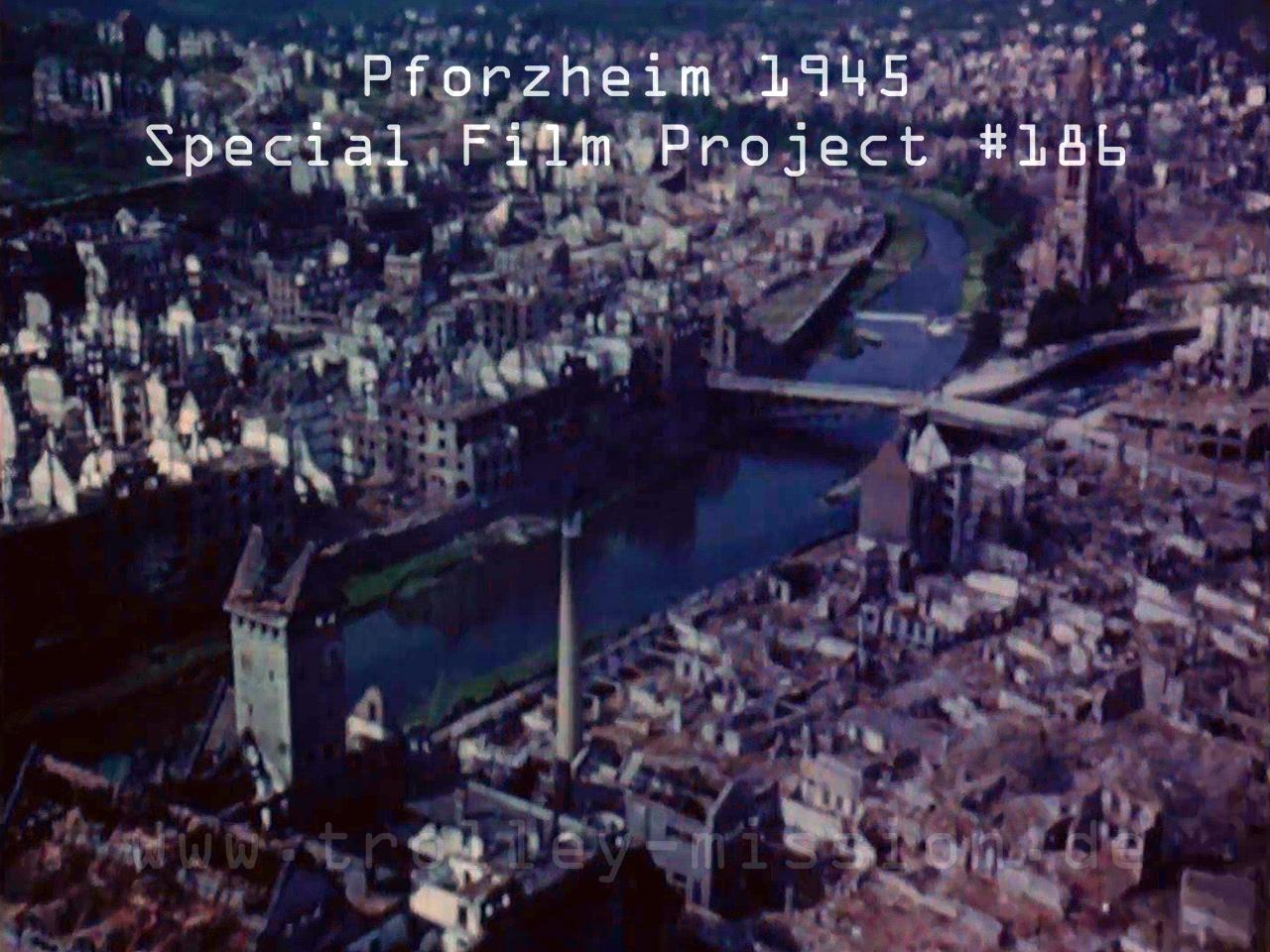 Farbfilm Luftaufnahmen von Pforzheim nach den Fliegerbomben und Luftangriffen aus dem Jahr 1945