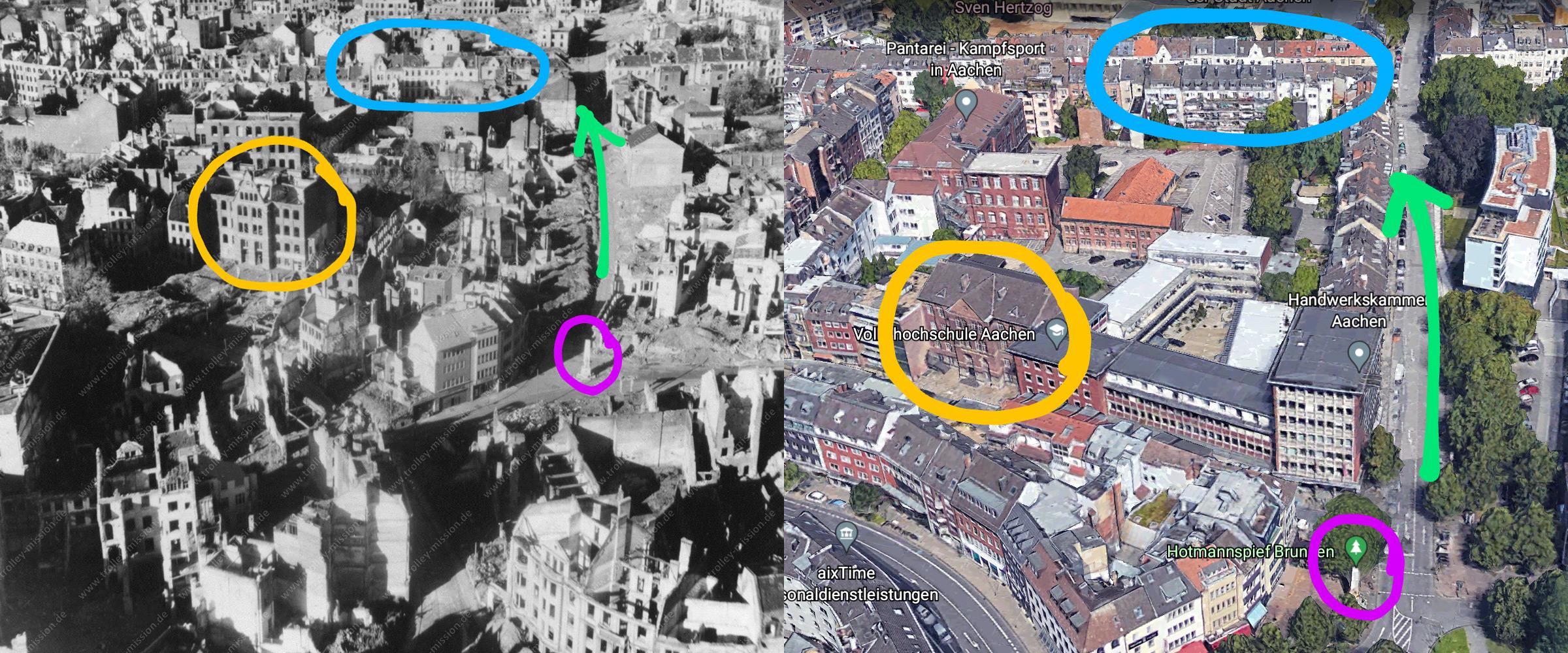 Bildvergleich Aachen 1945 und 2021