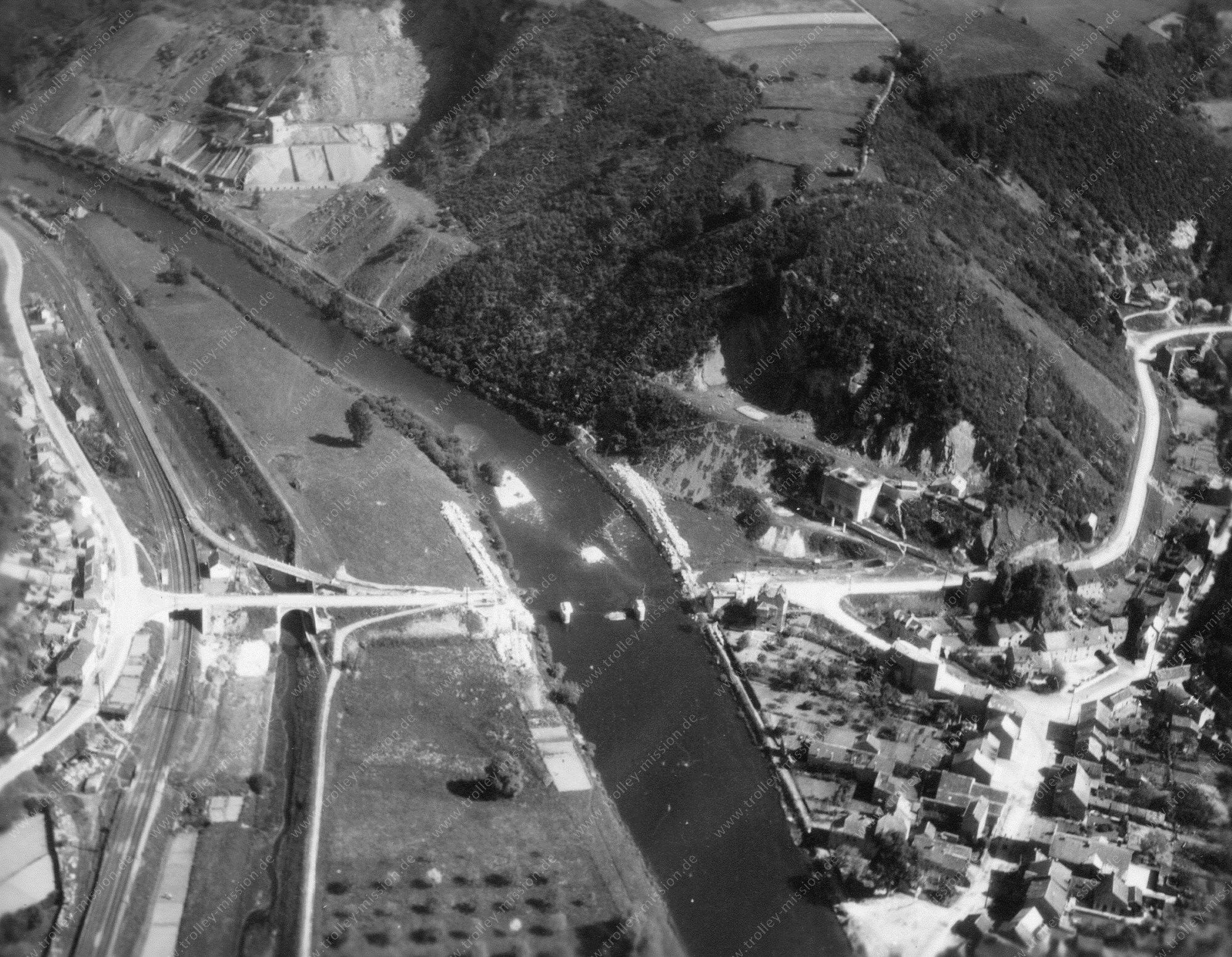 Comblain-au-Pont Luftbild der zerstörten Brücke Pont de Chanxhe (Belgien)