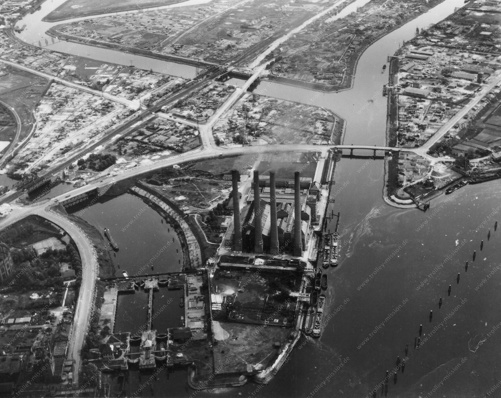 Hamburg Luftbild Schleuse Tiefstack und Kraftwerk der Hamburgischen Electricitäts-Werke AG