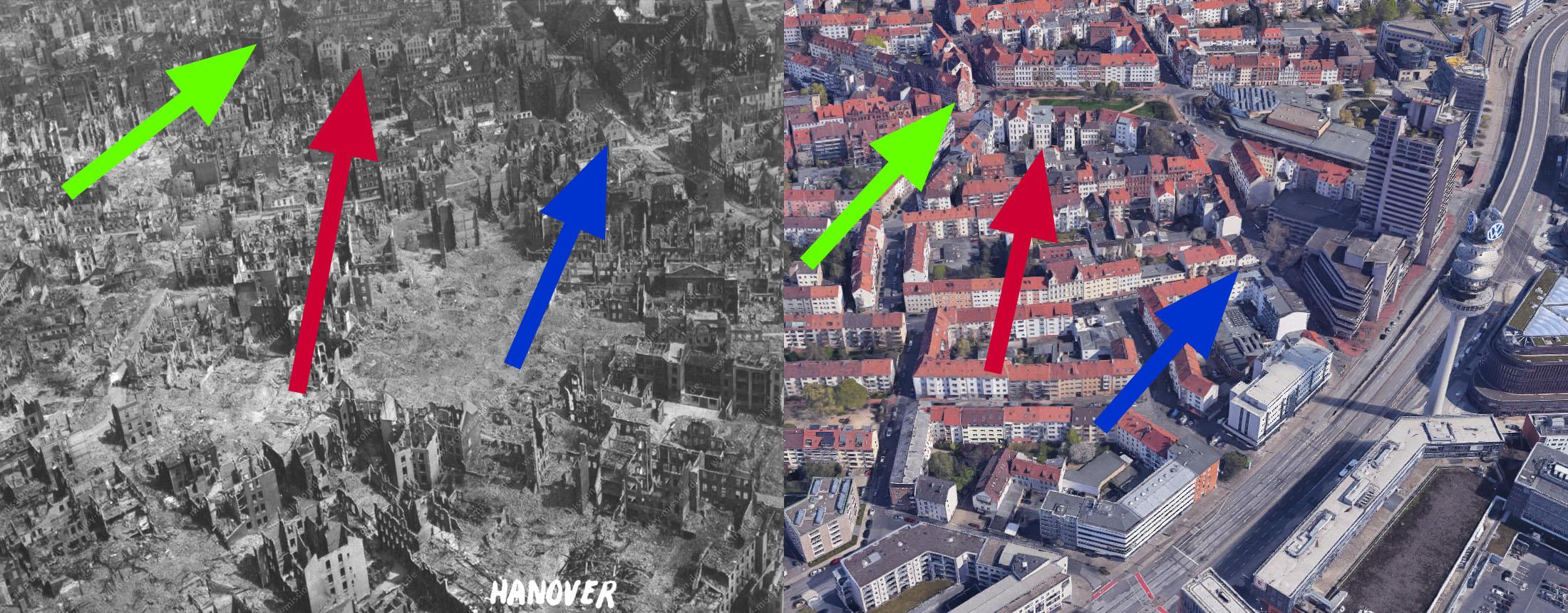 Vergleichsbild Hannover 1945 und Hannover 2021