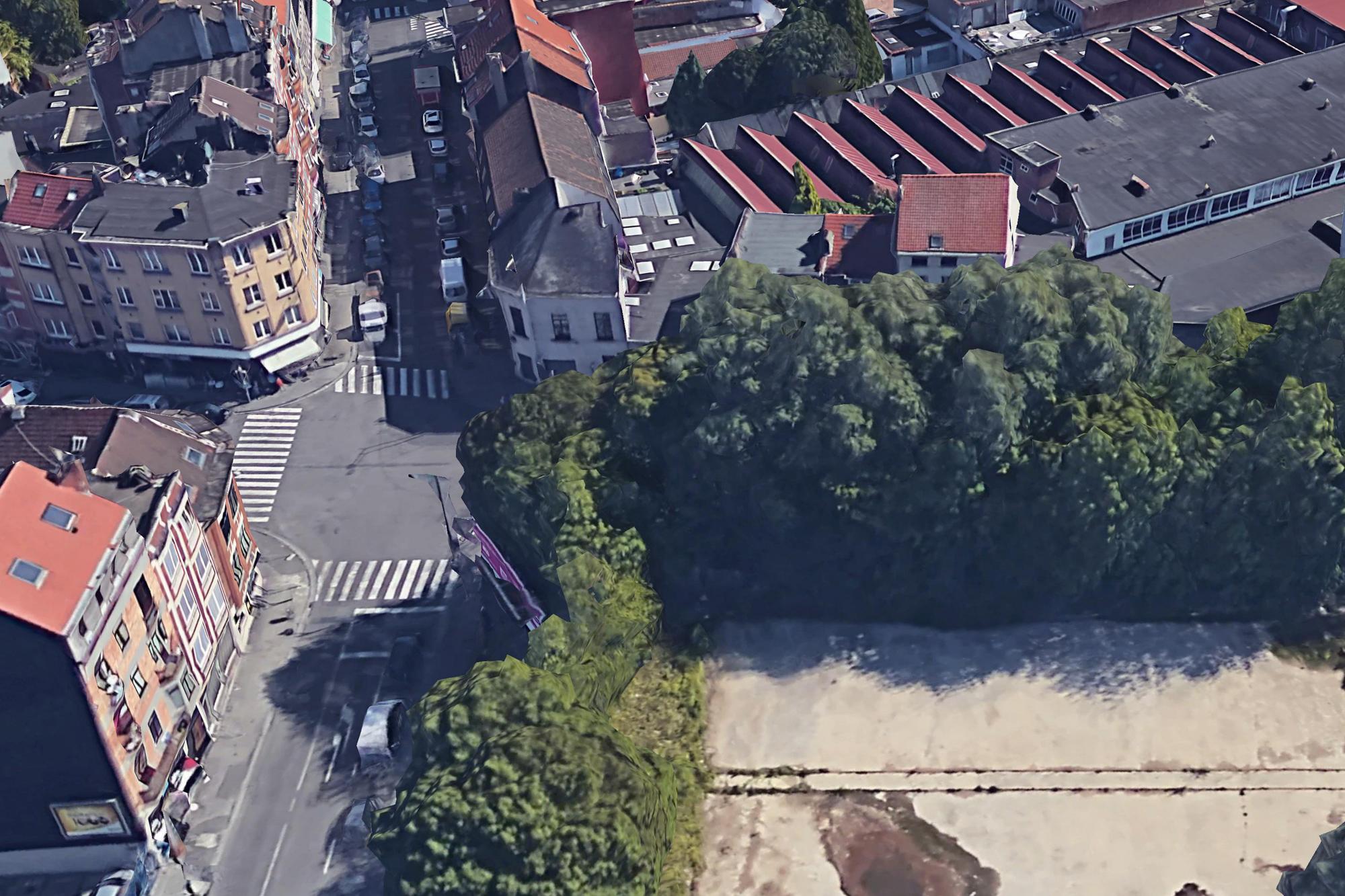 Straßenbahn und Kreuzung Chaussée de Gand und Rue Alphonse Vandenpeereboom in Brüssel (Google Earth)