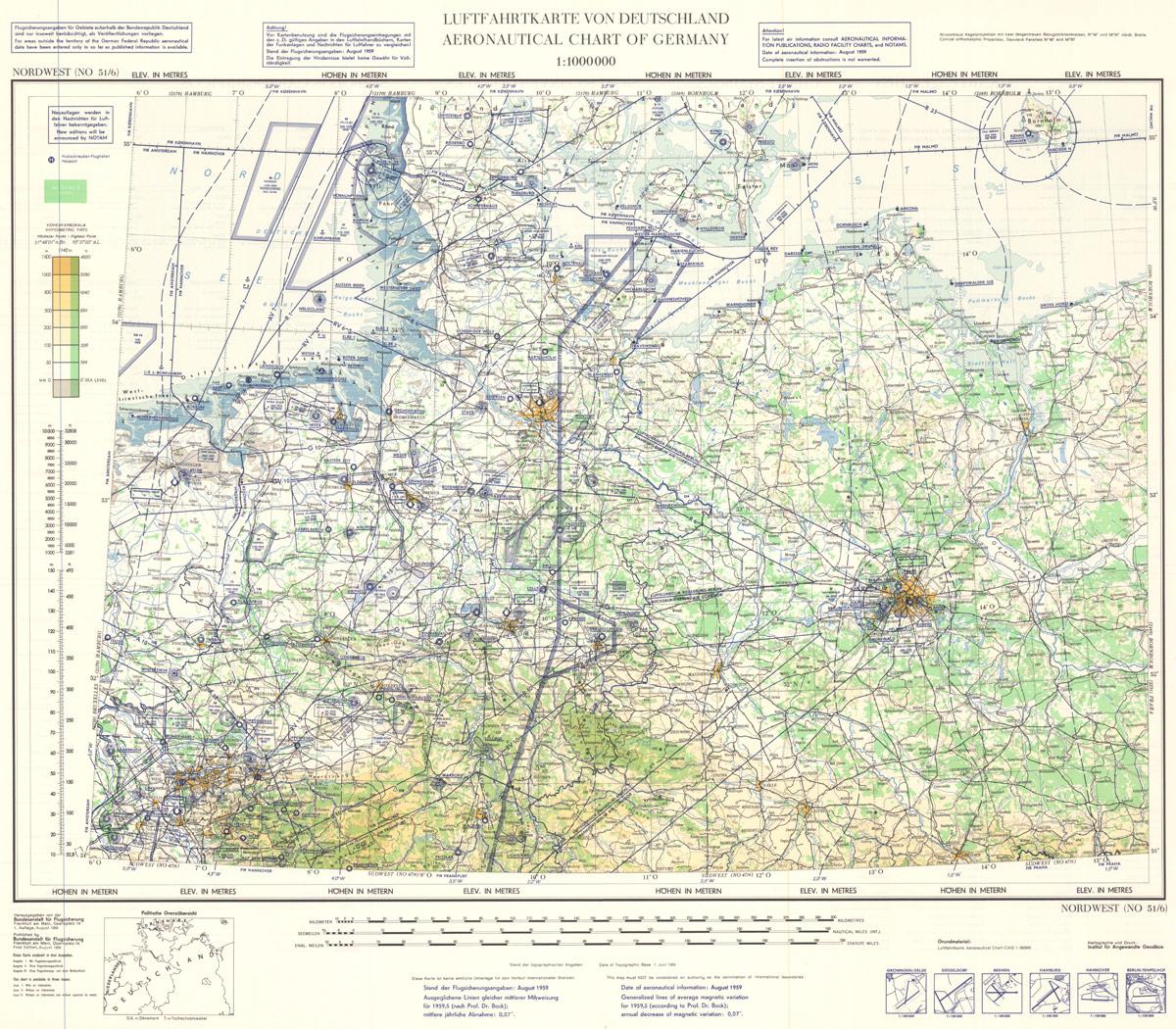 Luftfahrtkarte der Bundesrepublik Deutschland, Erste Ausgabe 1959, Nordwest