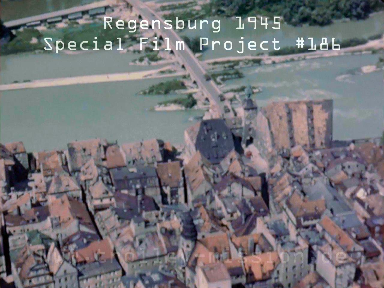 Farbfilm Luftaufnahmen von Regensburg nach den Fliegerbomben und Luftangriffen aus dem Jahr 1945