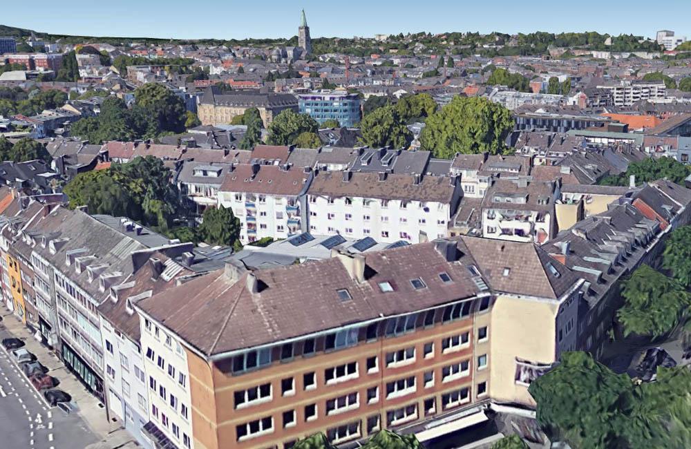 Vergleich von damals und heute: Aachen im Oktober 1944 - Bild vom Haus Grenzwacht mit Blick auf Lagerhausstraße und Leydelstraße