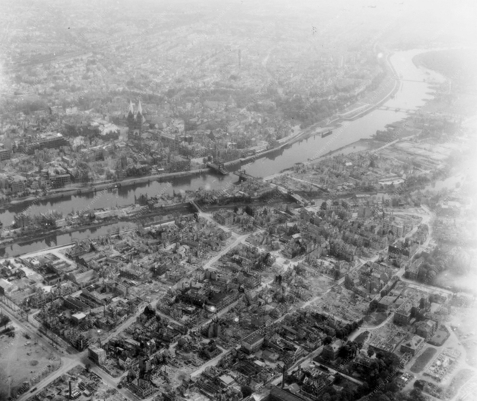 Bremen Luftbild mit Wilhelm-Kaisen-Brücke