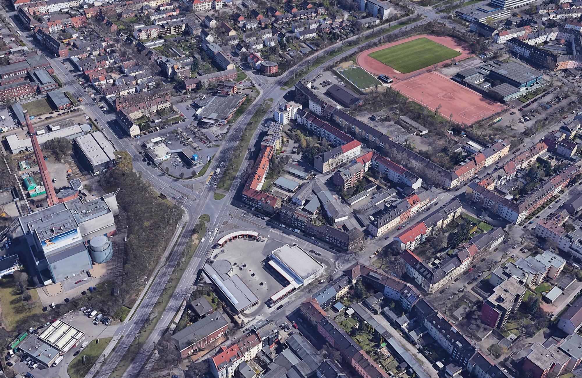 Google Earth: Luftbild vom Stadtteil Schalke in Gelsenkirchen