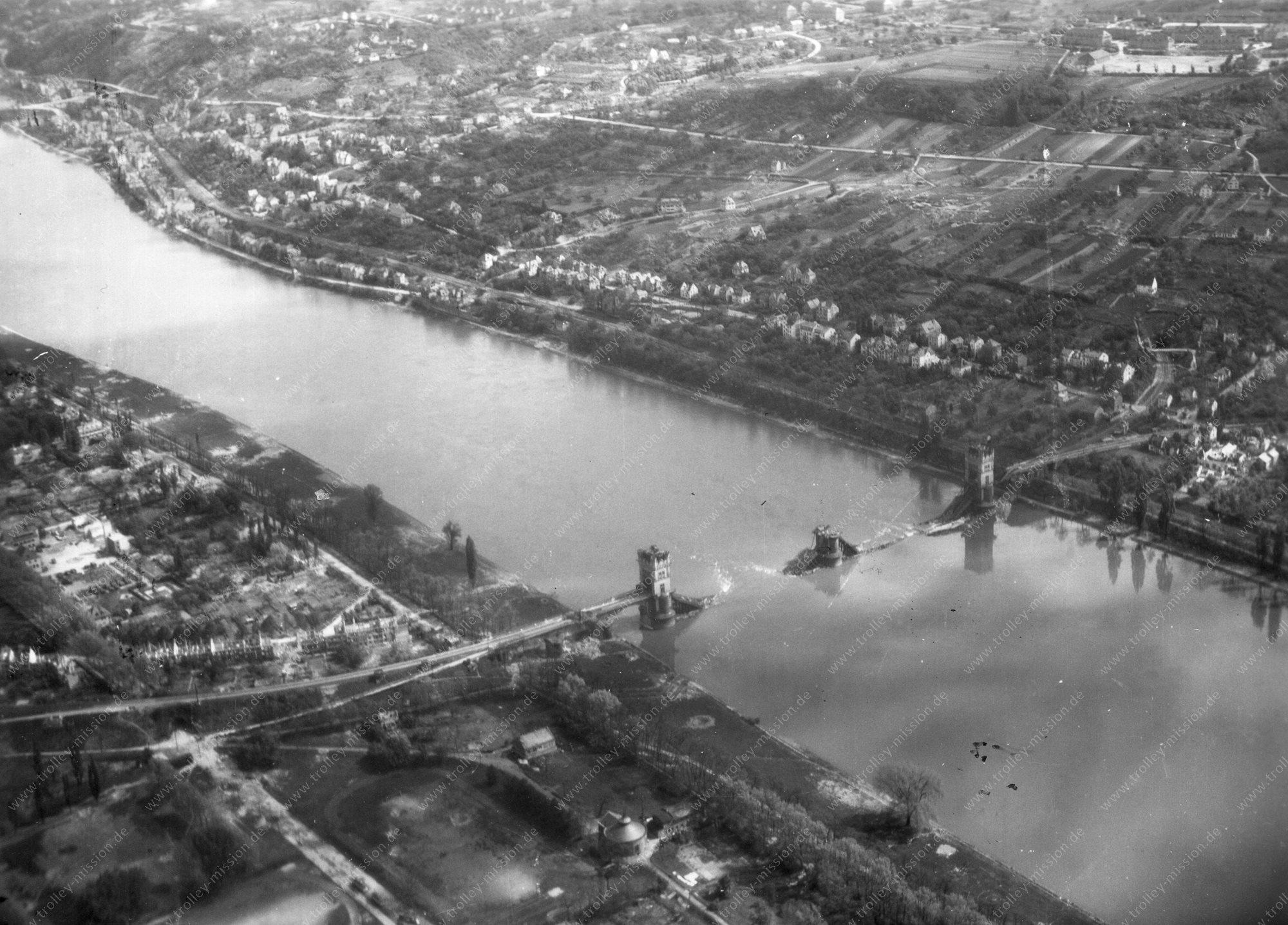 Koblenz Horchheimer Brücke Luftbild im Zweiten Weltkrieg