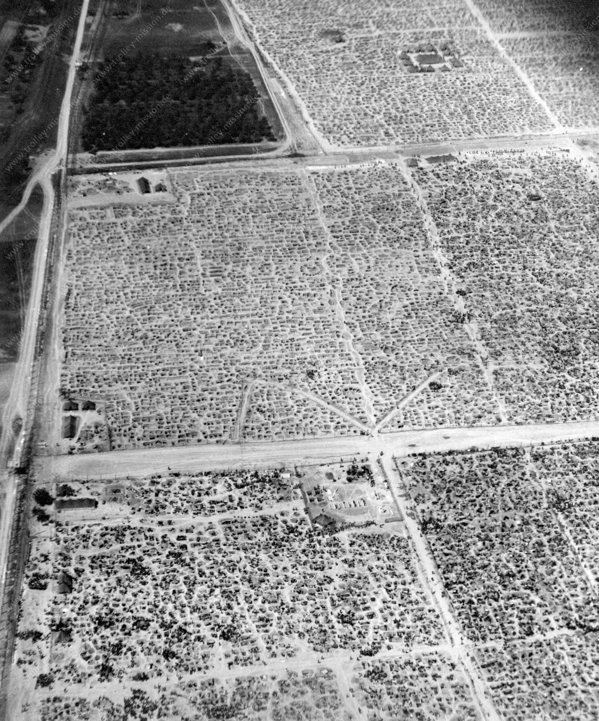 Luftbild Kriegsgefangenenlager auf den Rheinwiesen bei Remagen