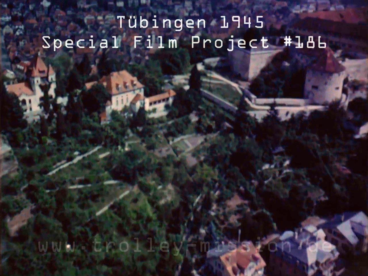 Farbfilm Luftaufnahmen von Tübingen nach den Fliegerbomben und Luftangriffen aus dem Jahr 1945