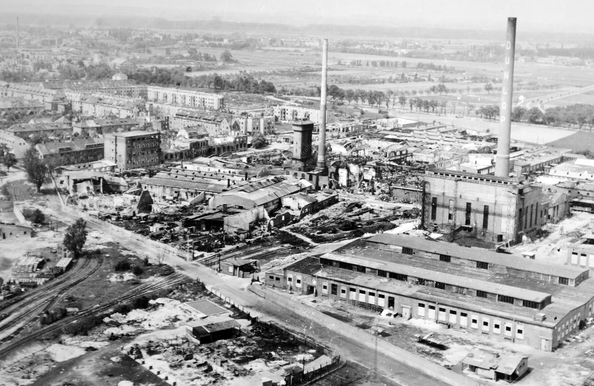 Dunlop Pneumatic Tire Company: Werksgelände der Hanauer Reifenfabrik im Mai 1945