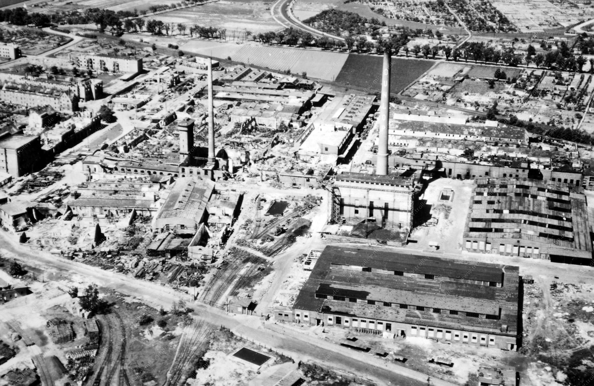Goodyear Dunlop Tires Germany: Luftbild der im Zweiten Weltkrieg zerstörten Reifenfabrik in Hanau