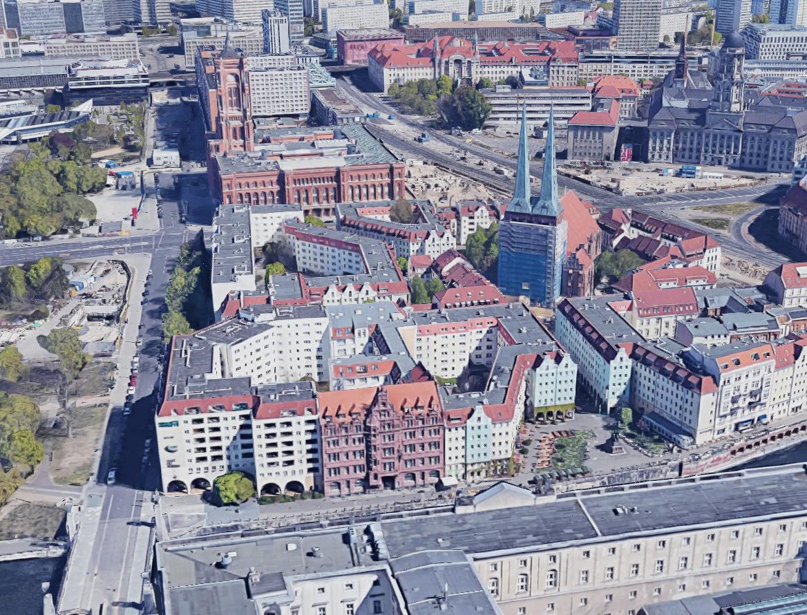Bildvergleich heute und damals: Rotes Rathaus und Altes Stadthaus in Berlin 1945 - Aufnahme vom Berliner Schloß nach dem Zweiten Weltkrieg