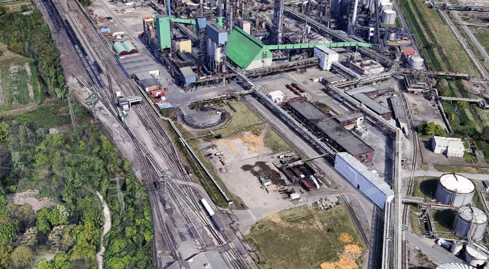 Vergleich der Bahngleise auf dem Luftbild von 1945 und der Satellitenaufnahmen aus Google Maps von der Kohlehydrieranlage der ehemaligen Gelsenberg Benzin AG im Werk Gelsenkirchen Horst
