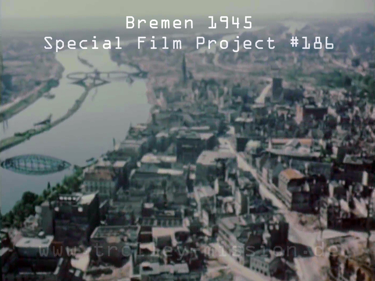 Low level flight video showing the destruction of Bremen, Germany, at the end of the European War (Second World War) 1945