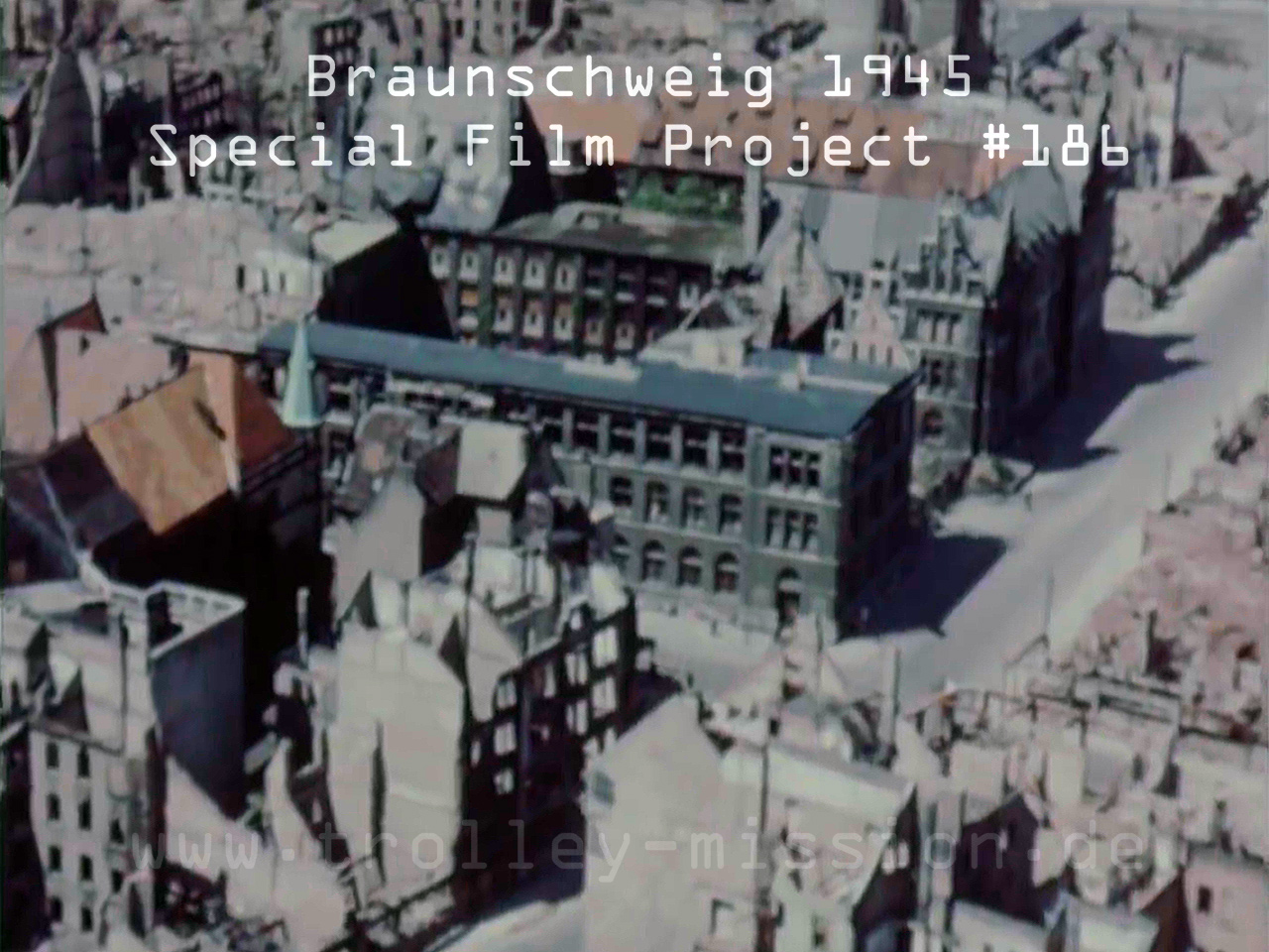 Low level flight video showing the destruction of Brunswick (Braunschweig), Germany, at the end of the European War (Second World War) 1945