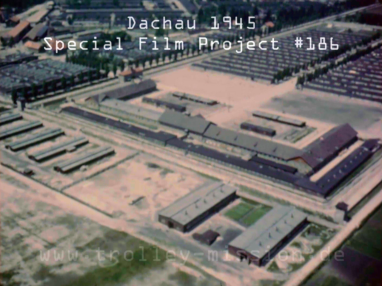 Low level flight video showing the Dachau Concentration Camp, Germany, at the end of the European War (Second World War) 1945