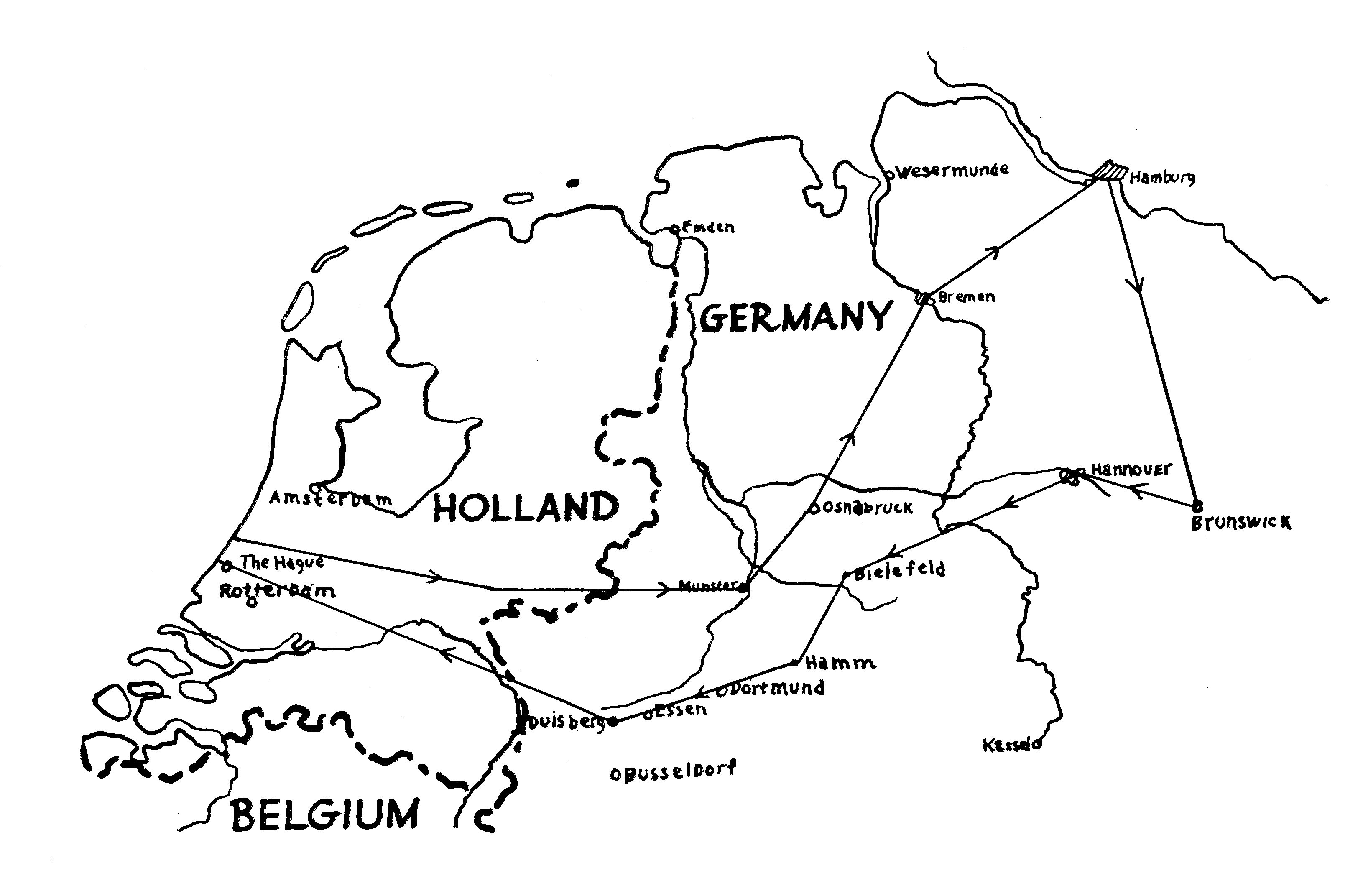 Northern flight route - Trolley Mission 1945
