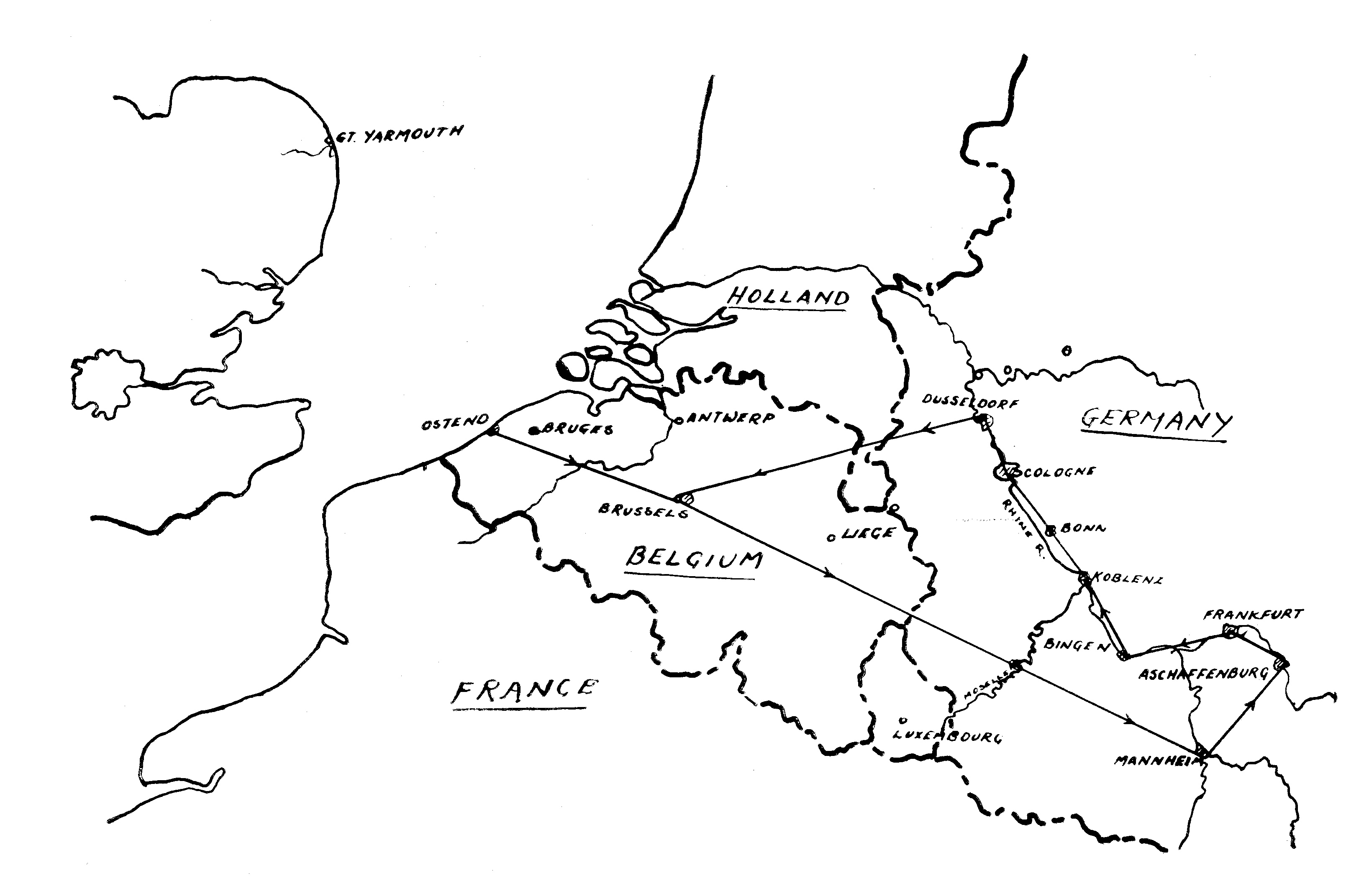 Southern flight route - Trolley Mission 1945